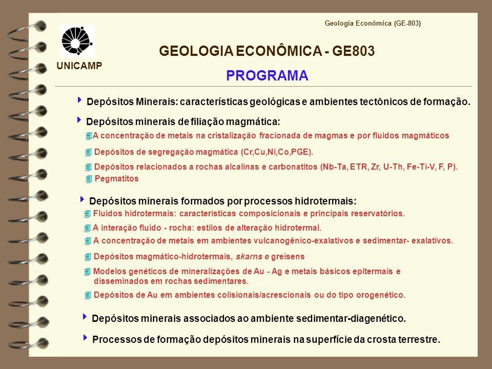 UNICAMP GEOLOGIA ECONÔMICA - GE803 PROGRAMA Geologia Econômica (GE-803) Depósitos Minerais: características geológicas e ambientes tectônicos de forma