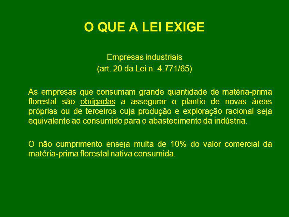 O QUE A LEI EXIGE Empresas industriais (art. 20 da Lei n. 4.771/65) As empresas que consumam grande quantidade de matéria-prima florestal são obrigada