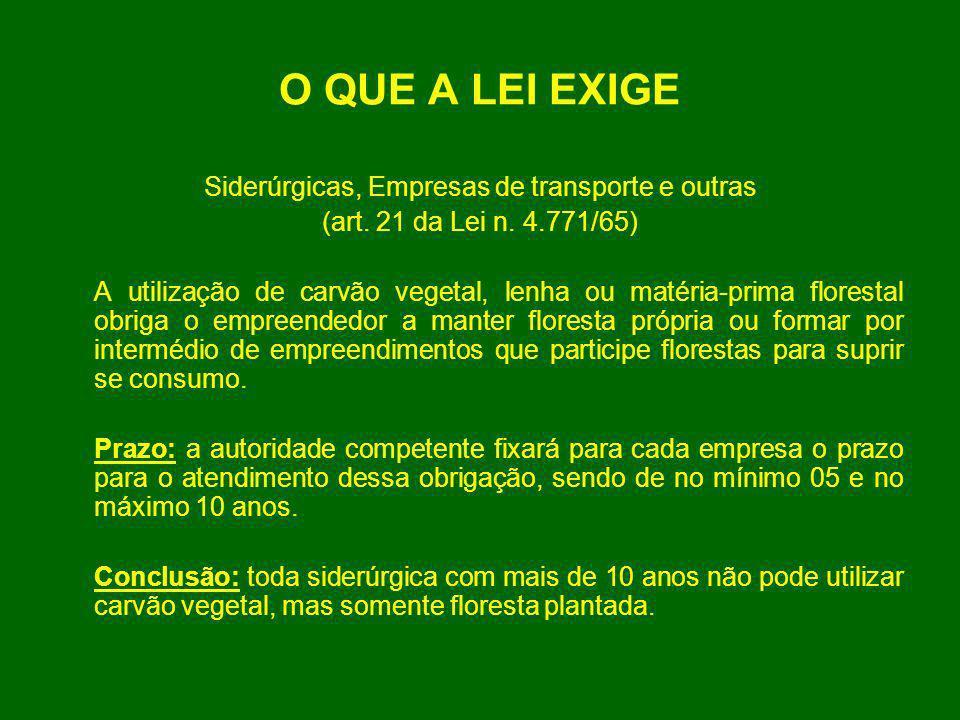 O QUE A LEI EXIGE Siderúrgicas, Empresas de transporte e outras (art. 21 da Lei n. 4.771/65) A utilização de carvão vegetal, lenha ou matéria-prima fl