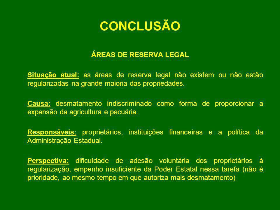 CONCLUSÃO ÁREAS DE RESERVA LEGAL Situação atual: as áreas de reserva legal não existem ou não estão regularizadas na grande maioria das propriedades.