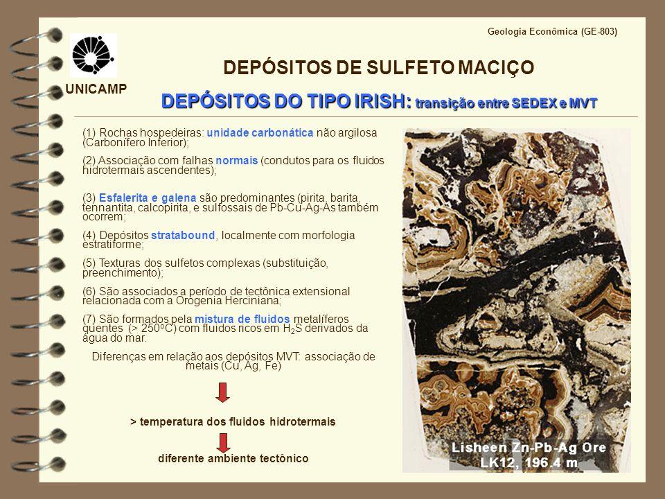 UNICAMP Geologia Econômica (GE-803) DEPÓSITOS DE SULFETO MACIÇO DEPÓSITOS DO TIPO IRISH: transição entre SEDEX e MVT (1) Rochas hospedeiras: unidade c