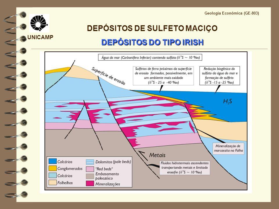 UNICAMP Geologia Econômica (GE-803) DEPÓSITOS DE SULFETO MACIÇO DEPÓSITOS DO TIPO IRISH