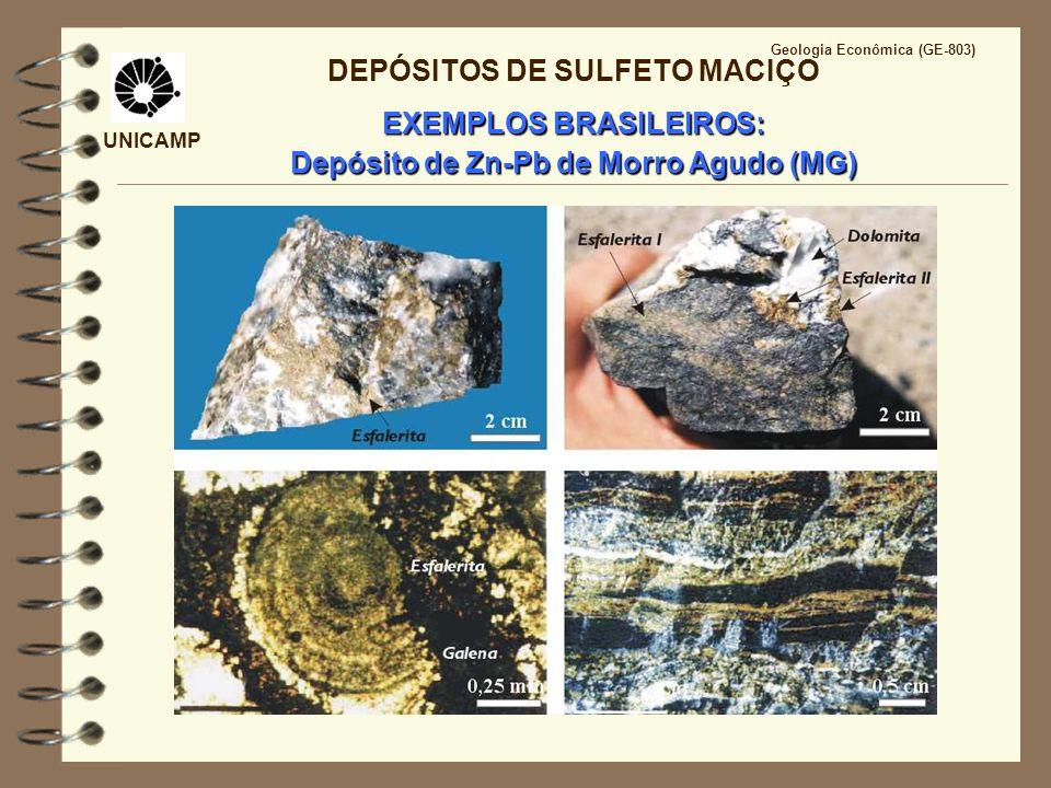 UNICAMP Geologia Econômica (GE-803) DEPÓSITOS DE SULFETO MACIÇO EXEMPLOS BRASILEIROS: Depósito de Zn-Pb de Morro Agudo (MG)
