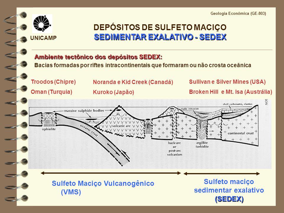 UNICAMP Geologia Econômica (GE-803) SEDIMENTAR EXALATIVO - SEDEX DEPÓSITOS DE SULFETO MACIÇO SEDIMENTAR EXALATIVO - SEDEX Sulfeto Maciço Vulcanogênico
