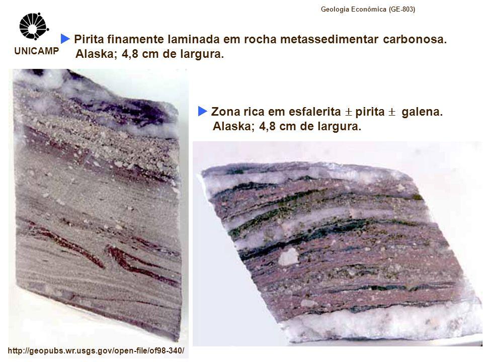 Pirita finamente laminada em rocha metassedimentar carbonosa. Alaska; 4,8 cm de largura. Zona rica em esfalerita pirita galena. Alaska; 4,8 cm de larg