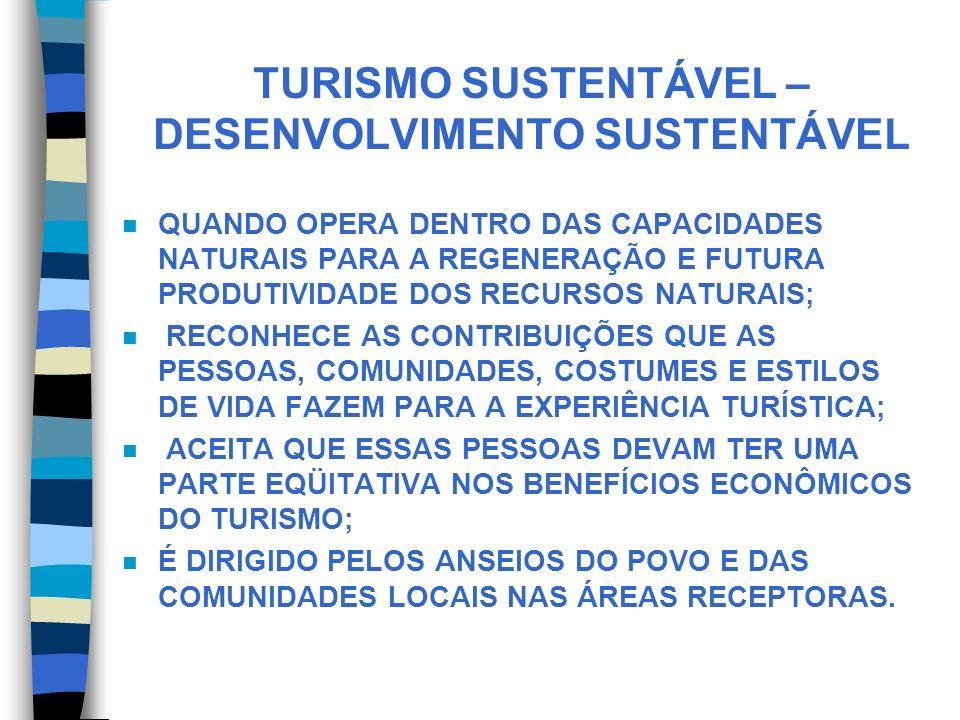 TURISMO SUSTENTÁVEL – DESENVOLVIMENTO SUSTENTÁVEL n QUANDO OPERA DENTRO DAS CAPACIDADES NATURAIS PARA A REGENERAÇÃO E FUTURA PRODUTIVIDADE DOS RECURSO