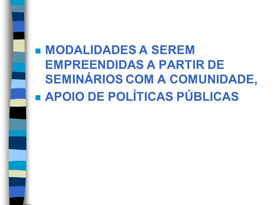 n MODALIDADES A SEREM EMPREENDIDAS A PARTIR DE SEMINÁRIOS COM A COMUNIDADE, n APOIO DE POLÍTICAS PÚBLICAS