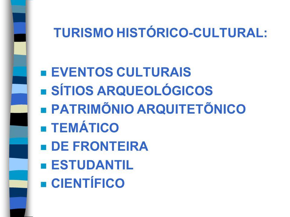 TURISMO HISTÓRICO-CULTURAL: n EVENTOS CULTURAIS n SÍTIOS ARQUEOLÓGICOS n PATRIMÕNIO ARQUITETÕNICO n TEMÁTICO n DE FRONTEIRA n ESTUDANTIL n CIENTÍFICO