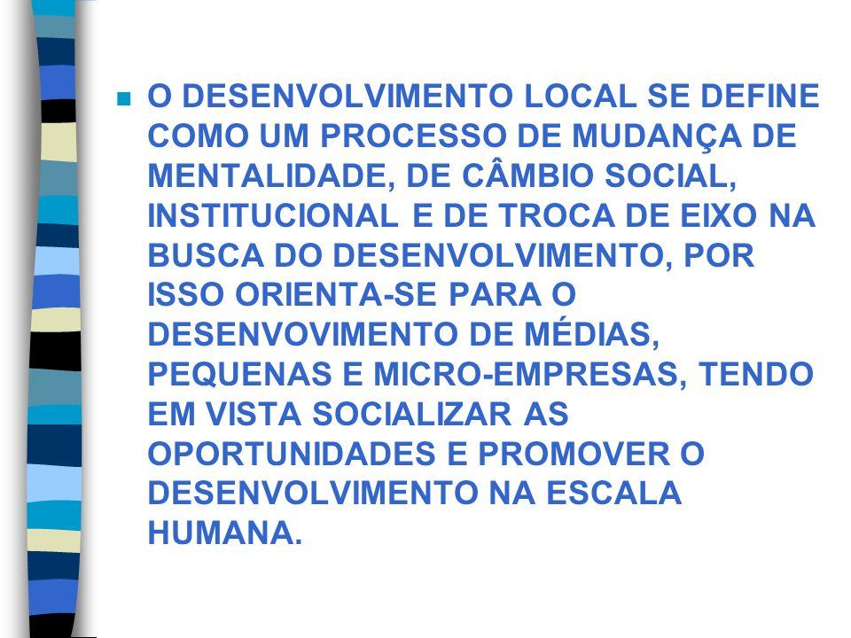 n O DESENVOLVIMENTO LOCAL SE DEFINE COMO UM PROCESSO DE MUDANÇA DE MENTALIDADE, DE CÂMBIO SOCIAL, INSTITUCIONAL E DE TROCA DE EIXO NA BUSCA DO DESENVO