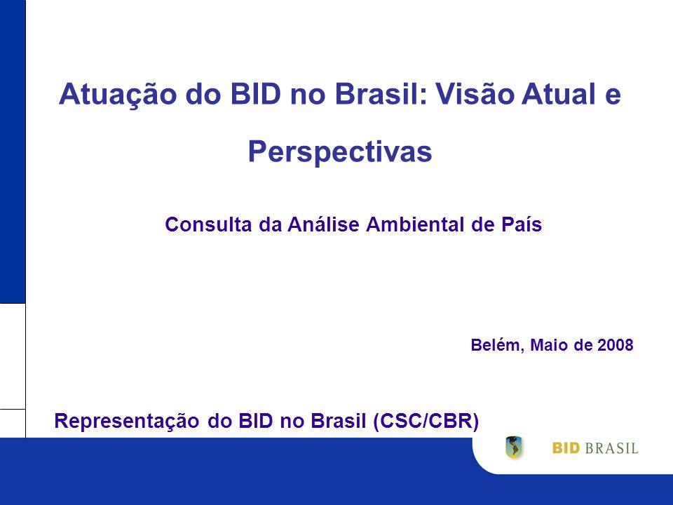 Atuação do BID no Brasil: Visão Atual e Perspectivas Belém, Maio de 2008 Consulta da Análise Ambiental de País Representação do BID no Brasil (CSC/CBR)