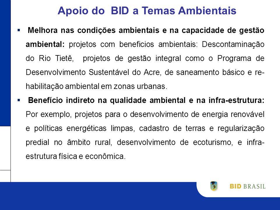 Melhora nas condições ambientais e na capacidade de gestão ambiental: projetos com beneficios ambientais: Descontaminação do Rio Tietê, projetos de gestão integral como o Programa de Desenvolvimento Sustentável do Acre, de saneamento básico e re- habilitação ambiental em zonas urbanas.