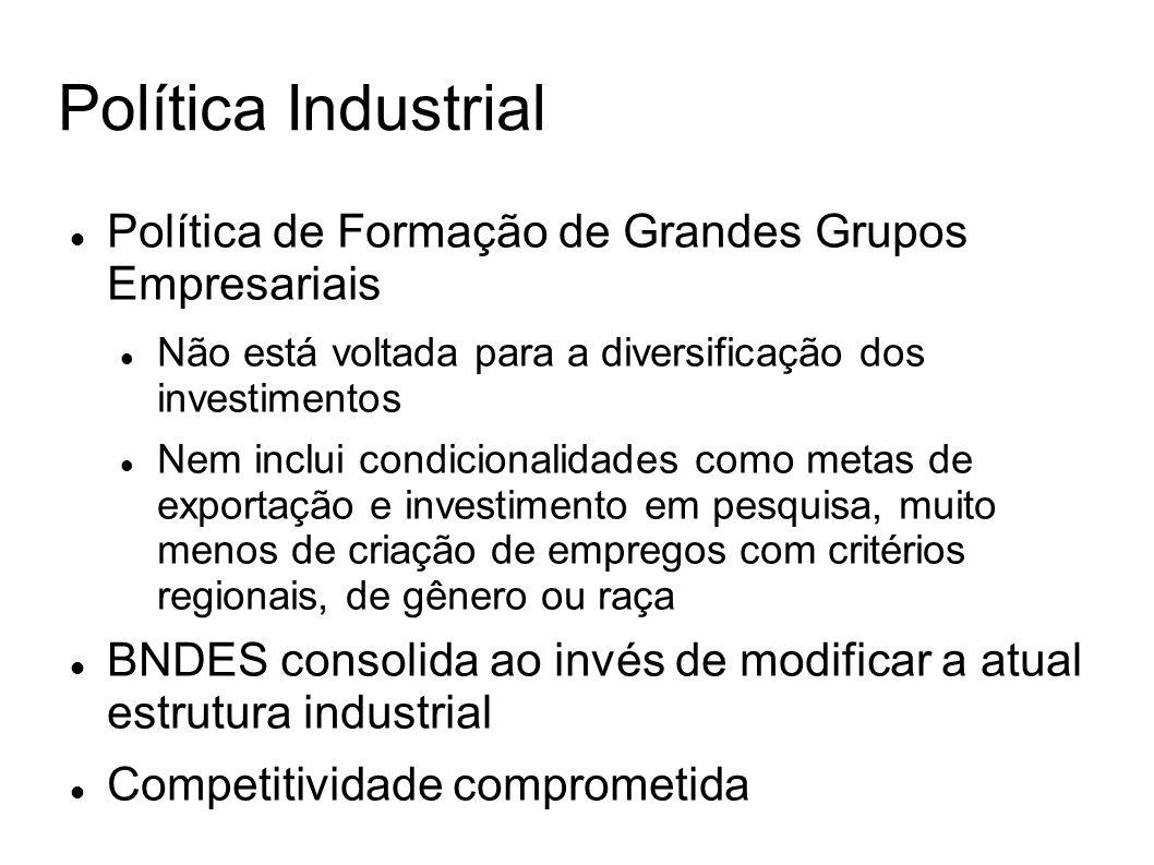 Política Industrial Política de Formação de Grandes Grupos Empresariais Não está voltada para a diversificação dos investimentos Nem inclui condiciona