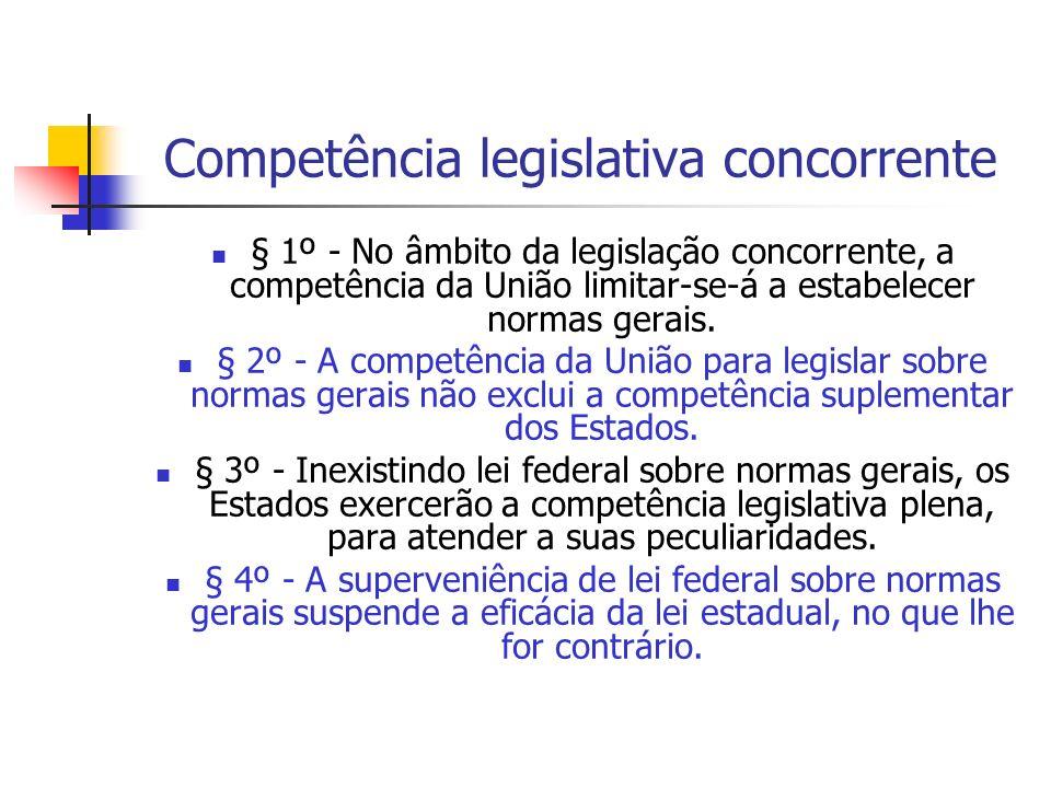 Competência legislativa concorrente § 1º - No âmbito da legislação concorrente, a competência da União limitar-se-á a estabelecer normas gerais. § 2º