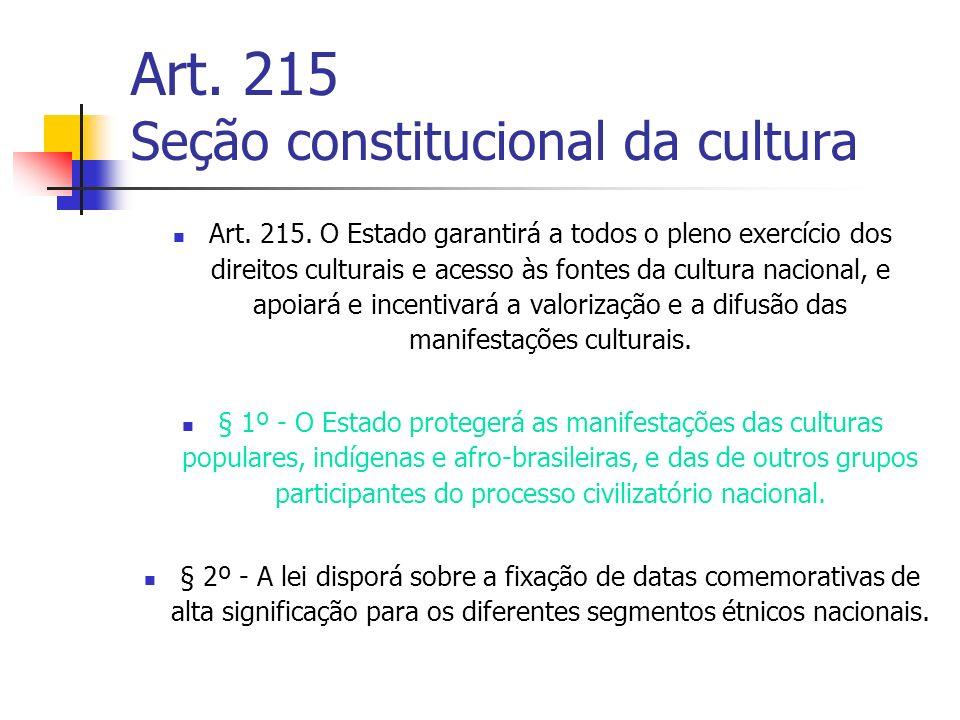 Art. 215 Seção constitucional da cultura Art. 215. O Estado garantirá a todos o pleno exercício dos direitos culturais e acesso às fontes da cultura n