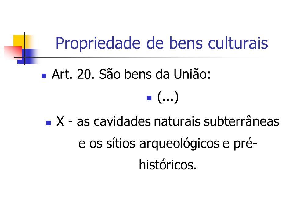 Propriedade de bens culturais Art. 20. São bens da União: (...) X - as cavidades naturais subterrâneas e os sítios arqueológicos e pré- históricos.
