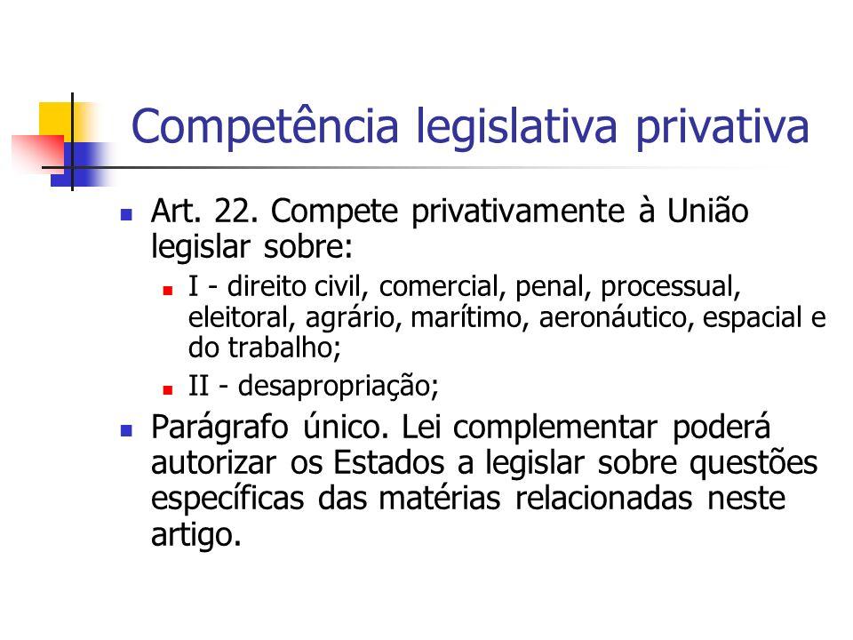 Competência legislativa privativa Art. 22. Compete privativamente à União legislar sobre: I - direito civil, comercial, penal, processual, eleitoral,