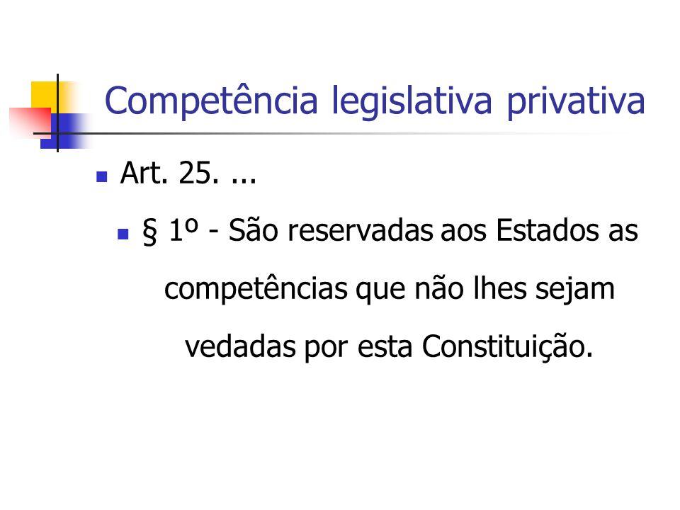Competência legislativa privativa Art. 25.... § 1º - São reservadas aos Estados as competências que não lhes sejam vedadas por esta Constituição.