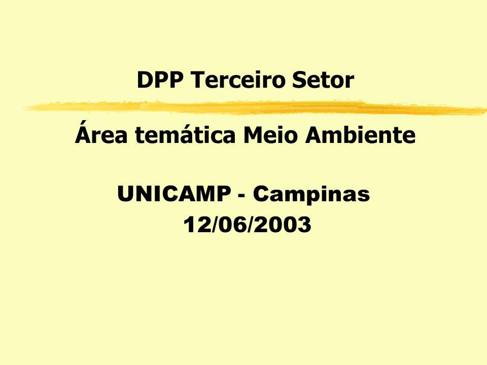 DPP Terceiro Setor Área temática Meio Ambiente UNICAMP - Campinas 12/06/2003