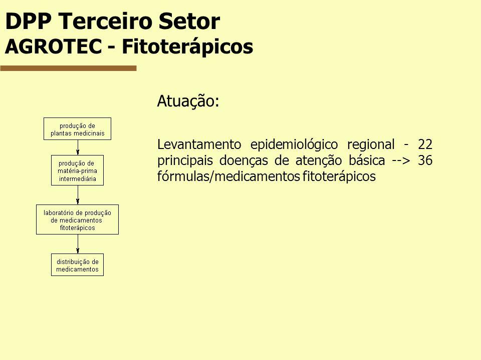 DPP Terceiro Setor AGROTEC - Fitoterápicos Atuação: Levantamento epidemiológico regional - 22 principais doenças de atenção básica --> 36 fórmulas/med