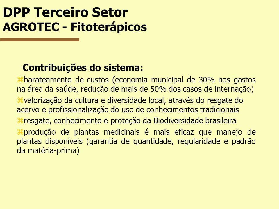 DPP Terceiro Setor AGROTEC - Fitoterápicos Contribuições do sistema: zbarateamento de custos (economia municipal de 30% nos gastos na área da saúde, r