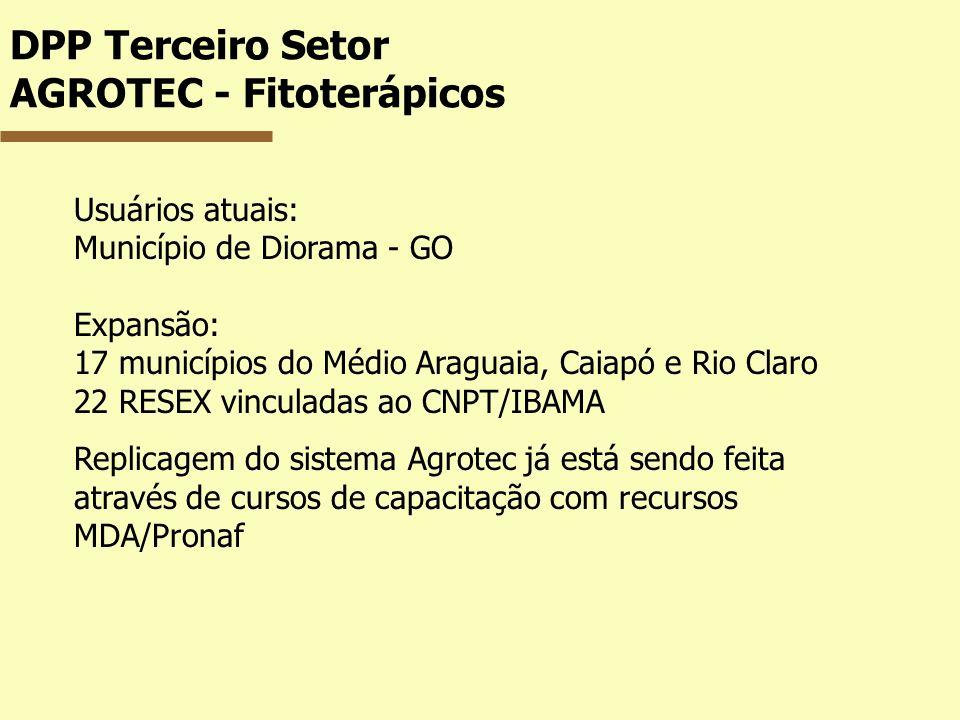 DPP Terceiro Setor AGROTEC - Fitoterápicos Usuários atuais: Município de Diorama - GO Expansão: 17 municípios do Médio Araguaia, Caiapó e Rio Claro 22