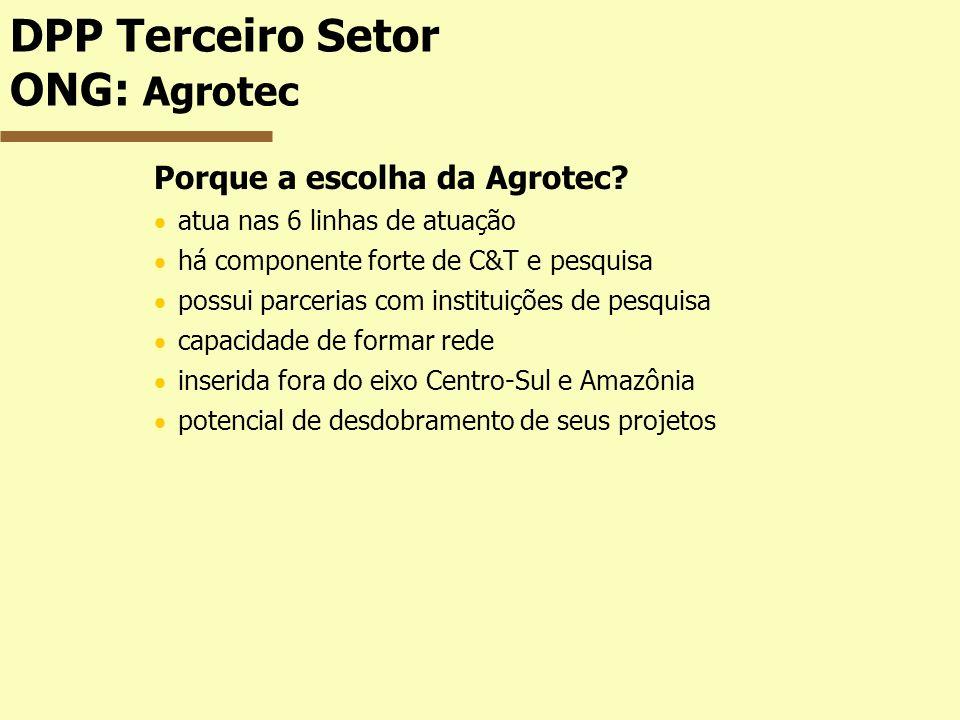 DPP Terceiro Setor ONG: Agrotec Porque a escolha da Agrotec? atua nas 6 linhas de atuação há componente forte de C&T e pesquisa possui parcerias com i
