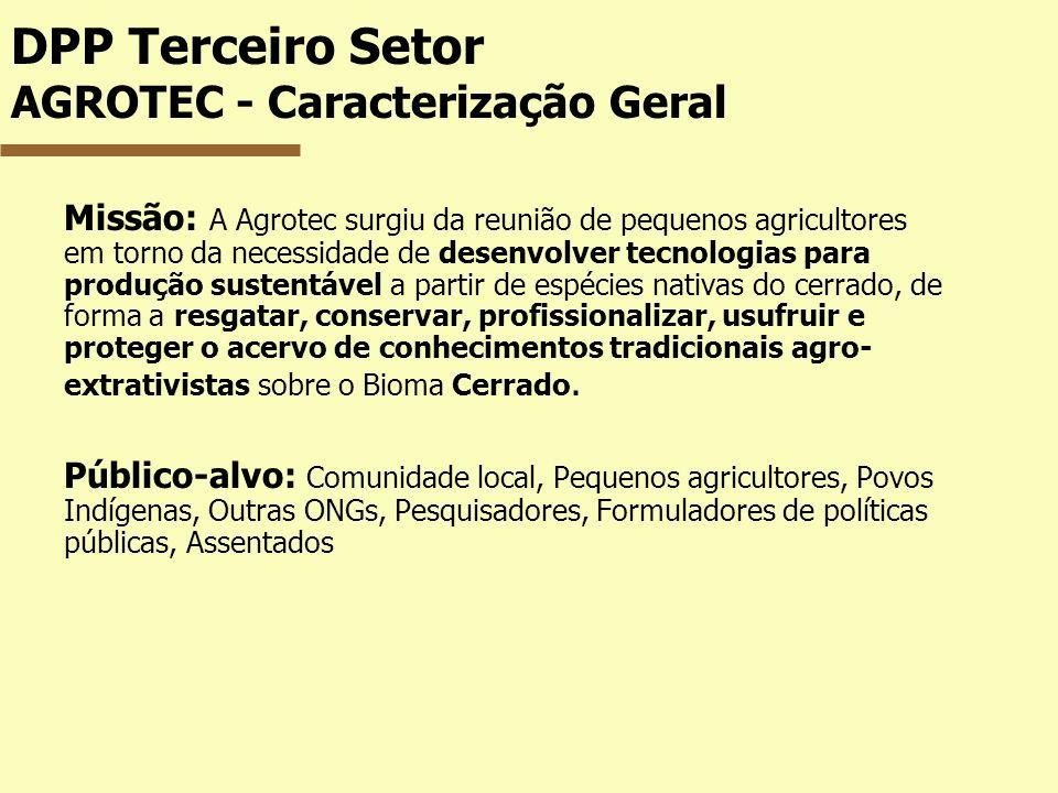 DPP Terceiro Setor AGROTEC - Caracterização Geral Missão: A Agrotec surgiu da reunião de pequenos agricultores em torno da necessidade de desenvolver