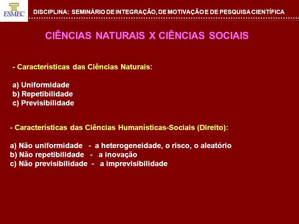 DISCIPLINA: SEMINÁRIO DE INTEGRAÇÃO, DE MOTIVAÇÃO E DE PESQUISA CIENTÍFICA - Características das Ciências Naturais: a) Uniformidade b) Repetibilidade