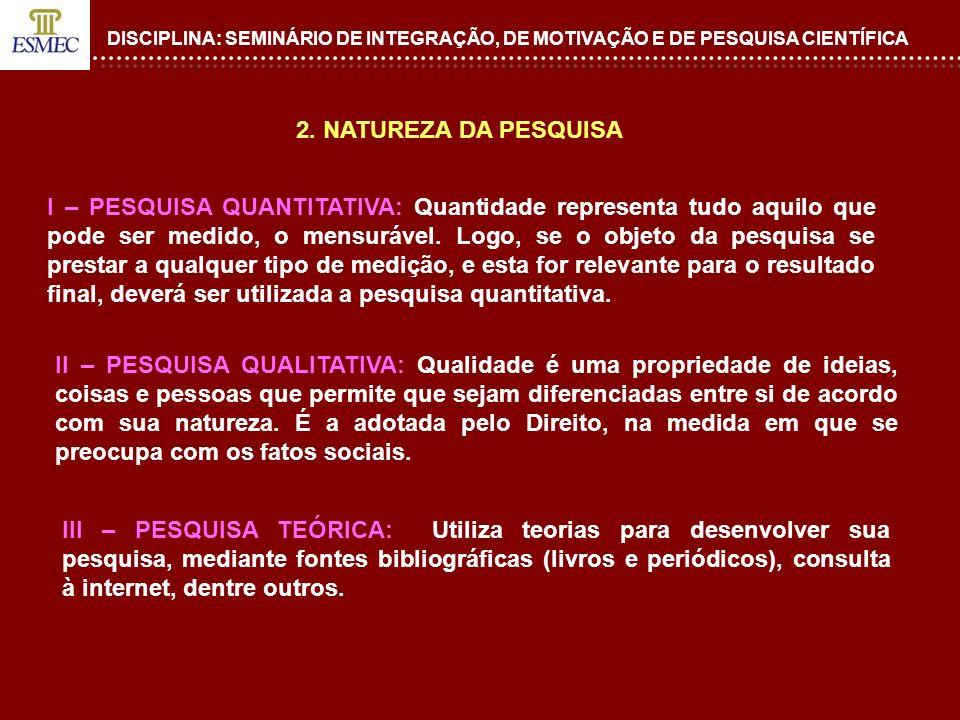DISCIPLINA: SEMINÁRIO DE INTEGRAÇÃO, DE MOTIVAÇÃO E DE PESQUISA CIENTÍFICA 2. NATUREZA DA PESQUISA II – PESQUISA QUALITATIVA: Qualidade é uma propried