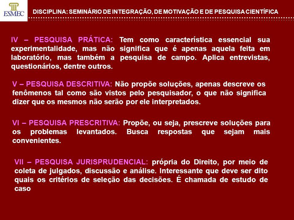 DISCIPLINA: SEMINÁRIO DE INTEGRAÇÃO, DE MOTIVAÇÃO E DE PESQUISA CIENTÍFICA IV – PESQUISA PRÁTICA: Tem como característica essencial sua experimentalid