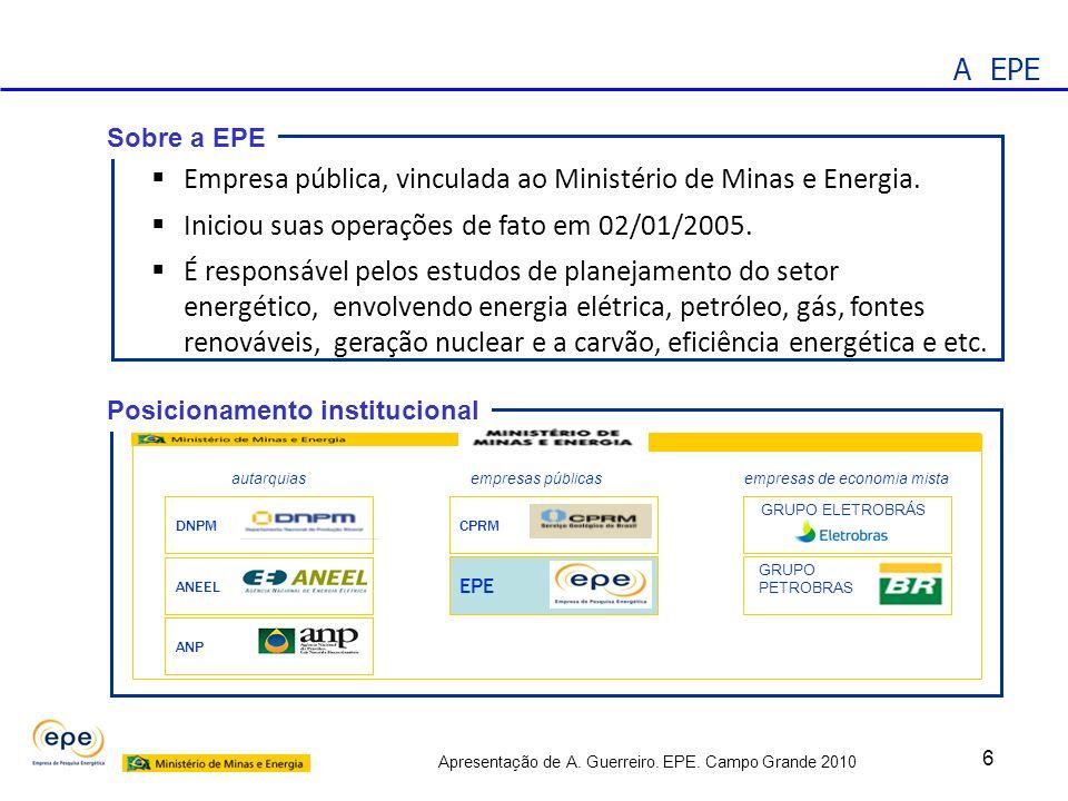 Apresentação de A. Guerreiro. EPE. Campo Grande 2010 6 Empresa pública, vinculada ao Ministério de Minas e Energia. Iniciou suas operações de fato em