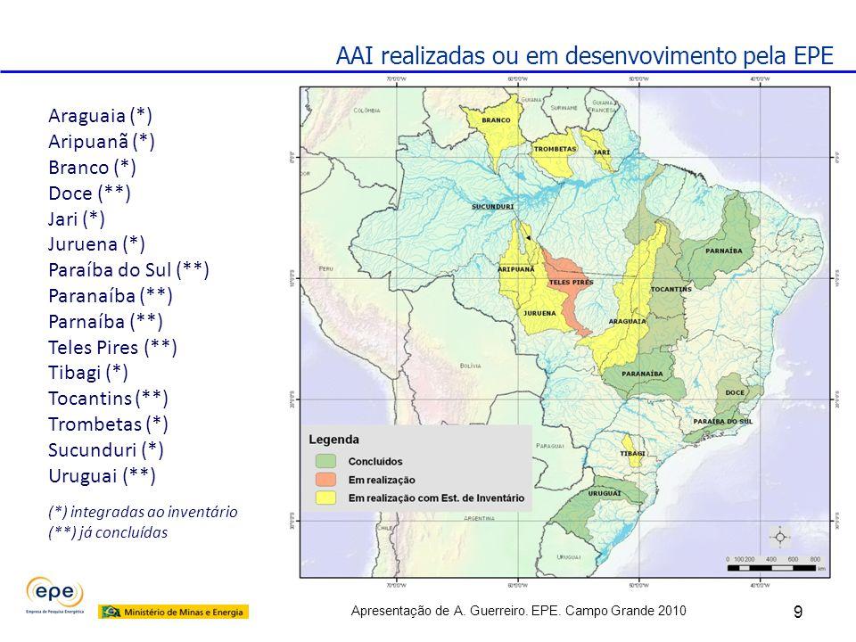 Apresentação de A. Guerreiro. EPE. Campo Grande 2010 Araguaia (*) Aripuanã (*) Branco (*) Doce (**) Jari (*) Juruena (*) Paraíba do Sul (**) Paranaíba