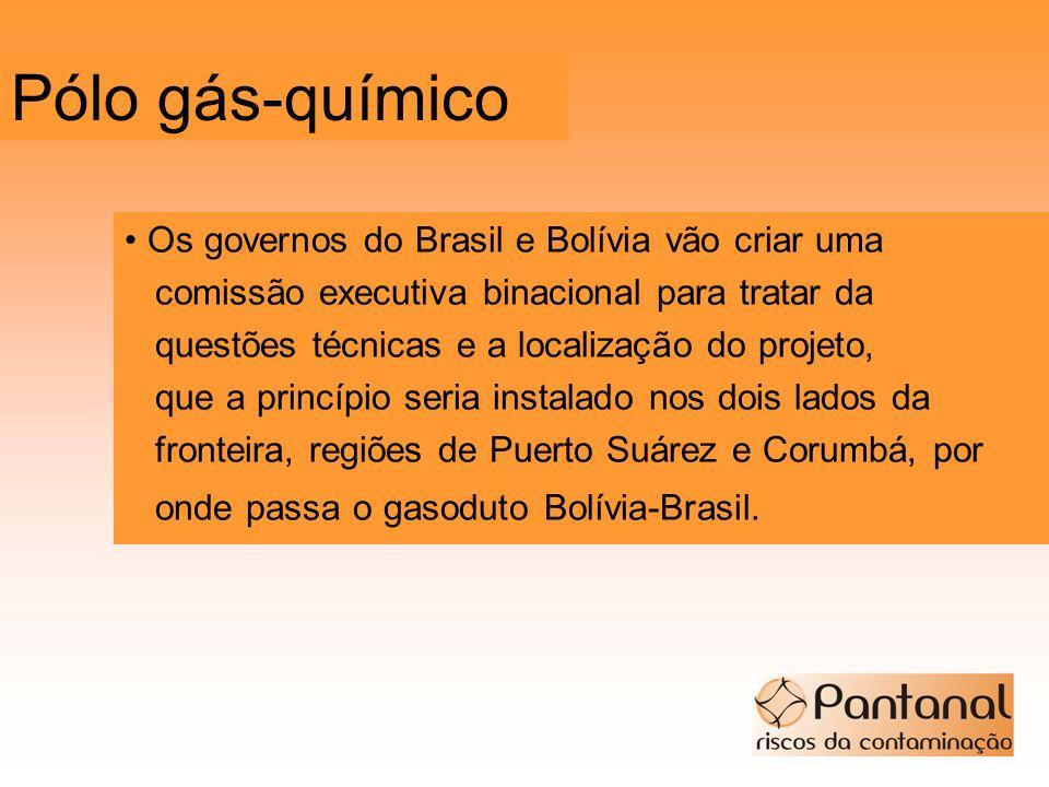 Pólo gás-químico Os governos do Brasil e Bolívia vão criar uma comissão executiva binacional para tratar da questões técnicas e a localização do proje