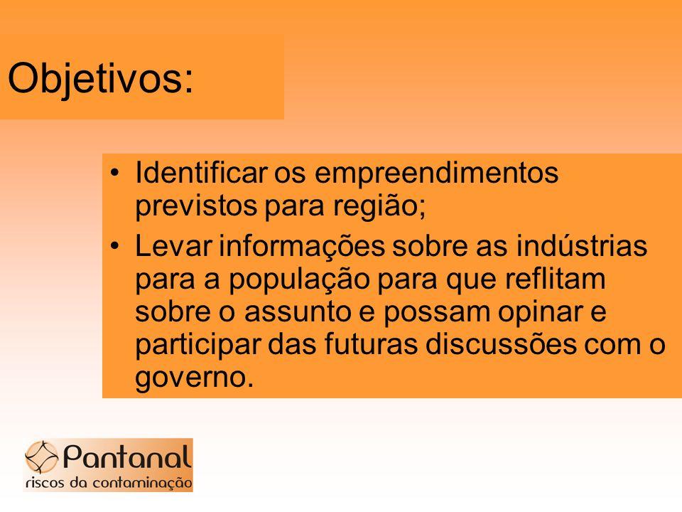 Objetivos: Identificar os empreendimentos previstos para região; Levar informações sobre as indústrias para a população para que reflitam sobre o assu