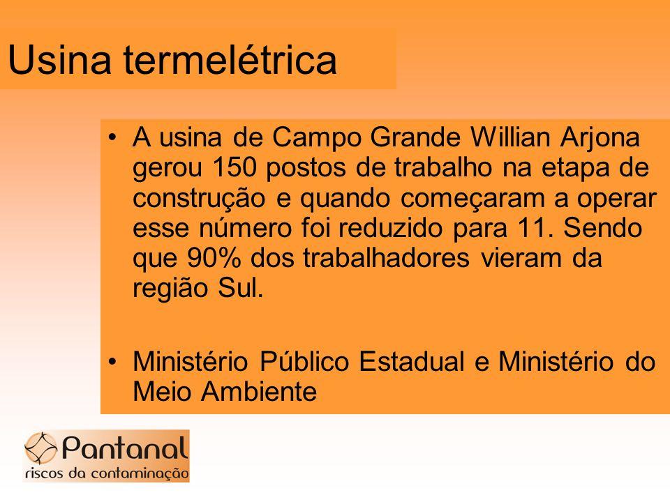 Usina termelétrica A usina de Campo Grande Willian Arjona gerou 150 postos de trabalho na etapa de construção e quando começaram a operar esse número