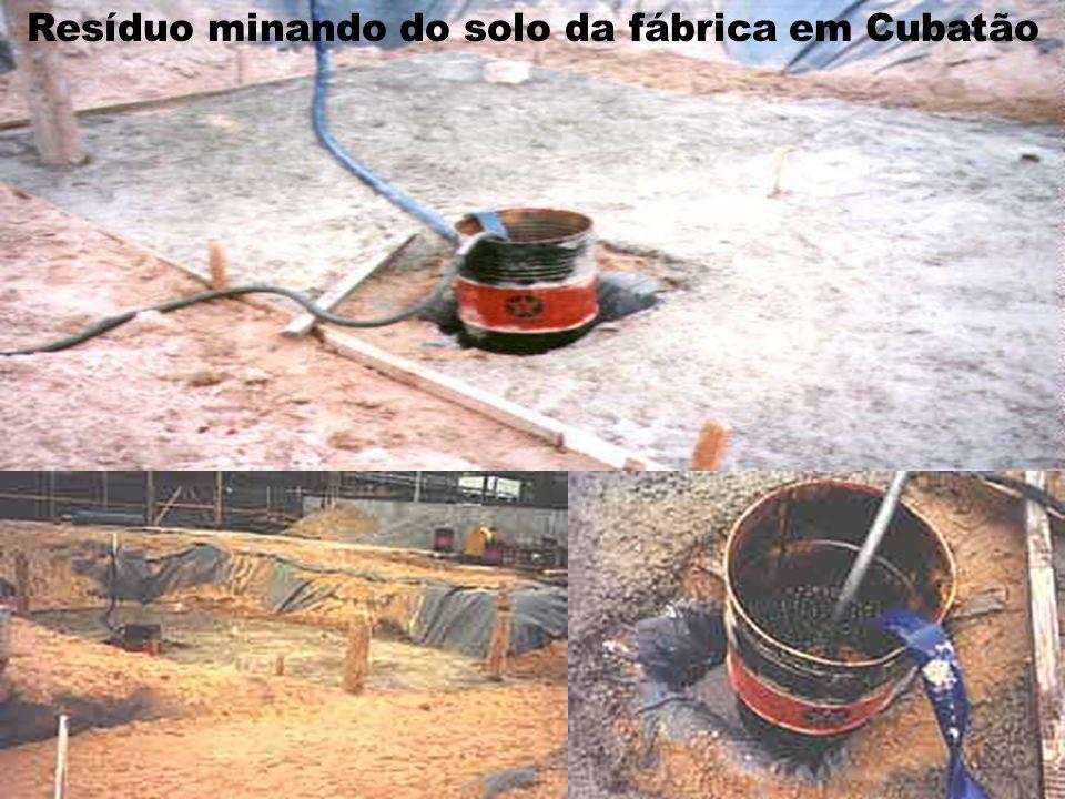 Resíduo minando do solo da fábrica em Cubatão