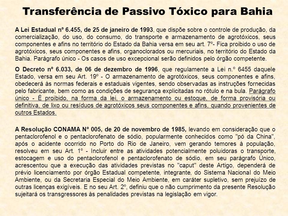 A Resolução CONAMA Nº 005, de 20 de novembro de 1985, levando em consideração que o pentaclorofenol e o pentaclorofenato de sódio, popularmente conhec