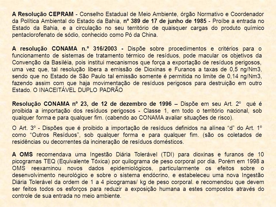 A Resolução CEPRAM - Conselho Estadual de Meio Ambiente, órgão Normativo e Coordenador da Política Ambiental do Estado da Bahia, nº 389 de 17 de junho
