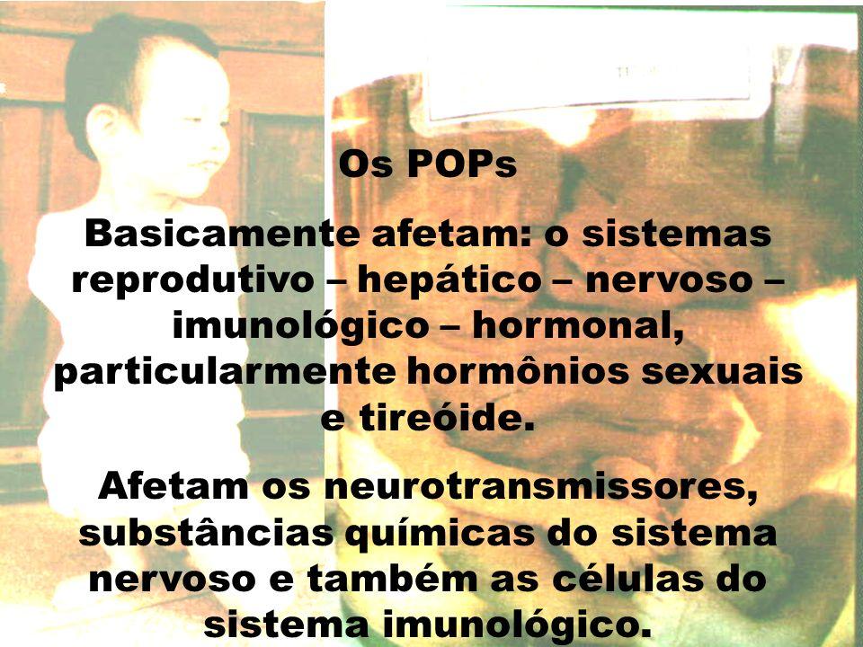 Os POPs Basicamente afetam: o sistemas reprodutivo – hepático – nervoso – imunológico – hormonal, particularmente hormônios sexuais e tireóide. Afetam