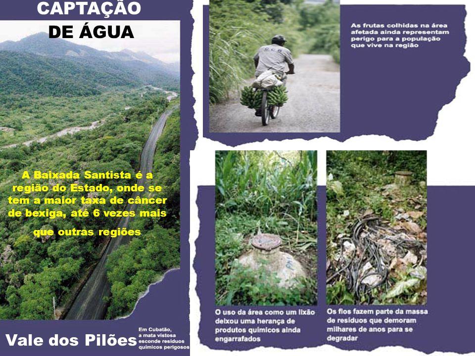 CAPTAÇÃO DE ÁGUA Vale dos Pilões A Baixada Santista é a região do Estado, onde se tem a maior taxa de câncer de bexiga, até 6 vezes mais que outras re