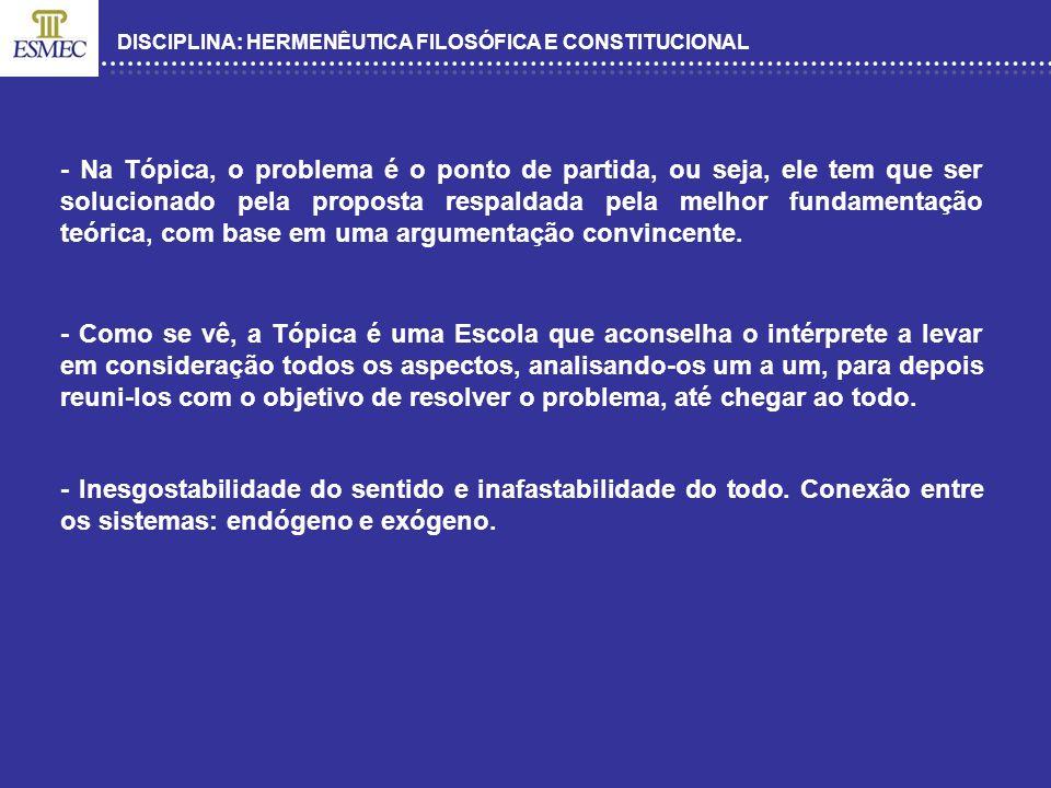 DISCIPLINA: HERMENÊUTICA FILOSÓFICA E CONSTITUCIONAL HÁ POSSIBILIDADE DE APLICAR A ESCOLA DA TÓPICA NO ORDENAMENTO JURÍDICO BRASILEIRO.