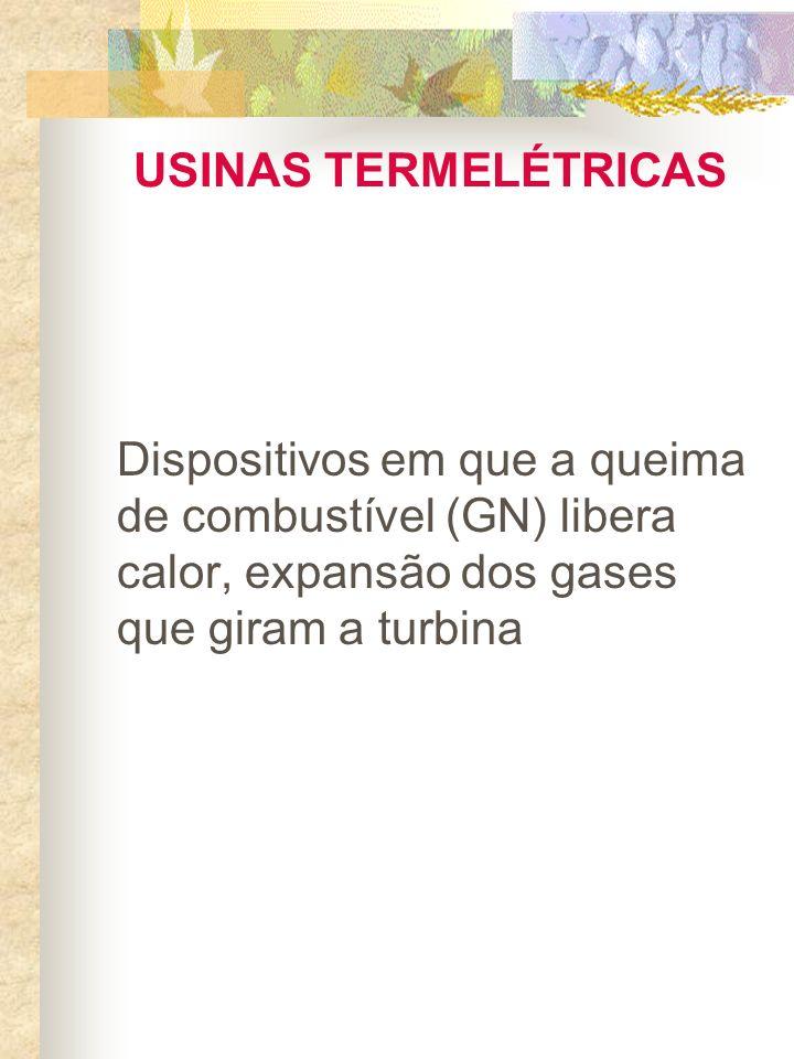 USINAS TERMELÉTRICAS Dispositivos em que a queima de combustível (GN) libera calor, expansão dos gases que giram a turbina