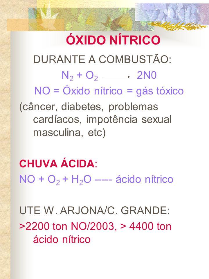 ÓXIDO NÍTRICO DURANTE A COMBUSTÃO: N 2 + O 2 2N0 NO = Óxido nítrico = gás tóxico (câncer, diabetes, problemas cardíacos, impotência sexual masculina,