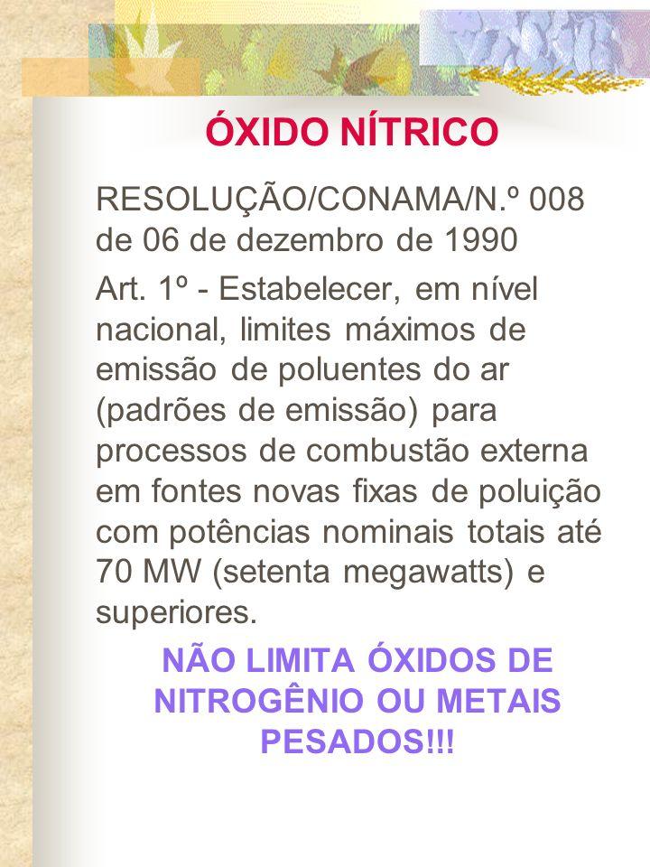 ÓXIDO NÍTRICO RESOLUÇÃO/CONAMA/N.º 008 de 06 de dezembro de 1990 Art. 1º - Estabelecer, em nível nacional, limites máximos de emissão de poluentes do