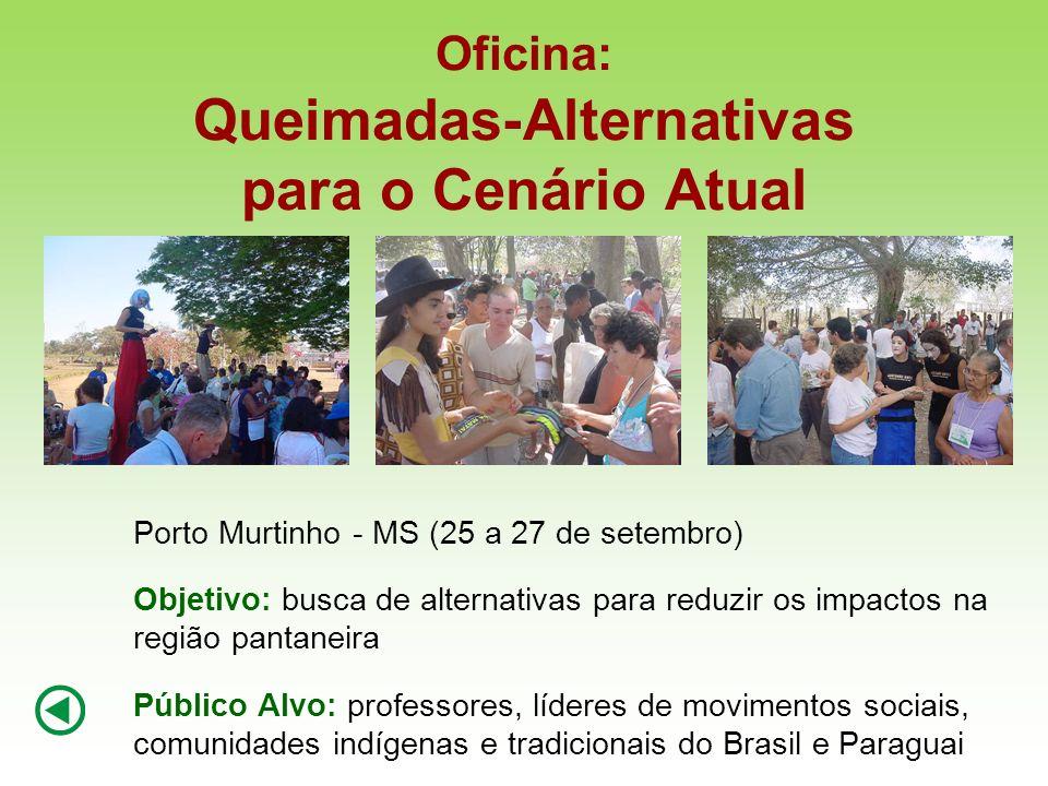 Oficina: Queimadas-Alternativas para o Cenário Atual Porto Murtinho - MS (25 a 27 de setembro) Objetivo: busca de alternativas para reduzir os impacto