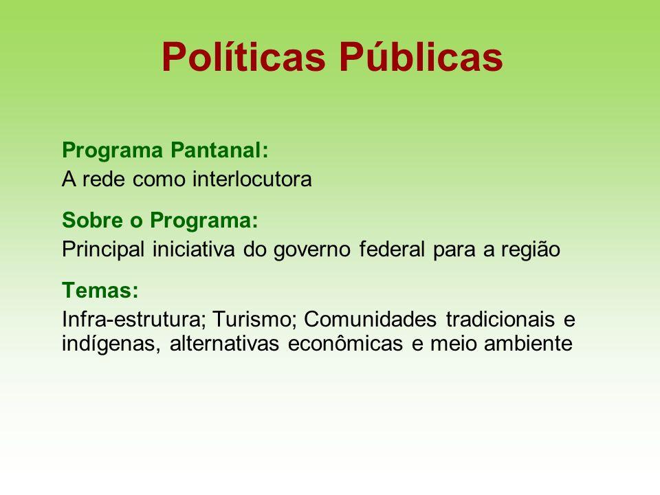 Políticas Públicas Programa Pantanal: A rede como interlocutora Sobre o Programa: Principal iniciativa do governo federal para a região Temas: Infra-e