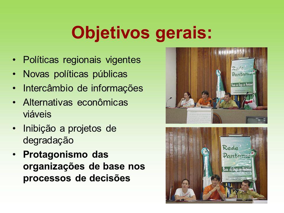 Objetivos gerais: Políticas regionais vigentes Novas políticas públicas Intercâmbio de informações Alternativas econômicas viáveis Inibição a projetos