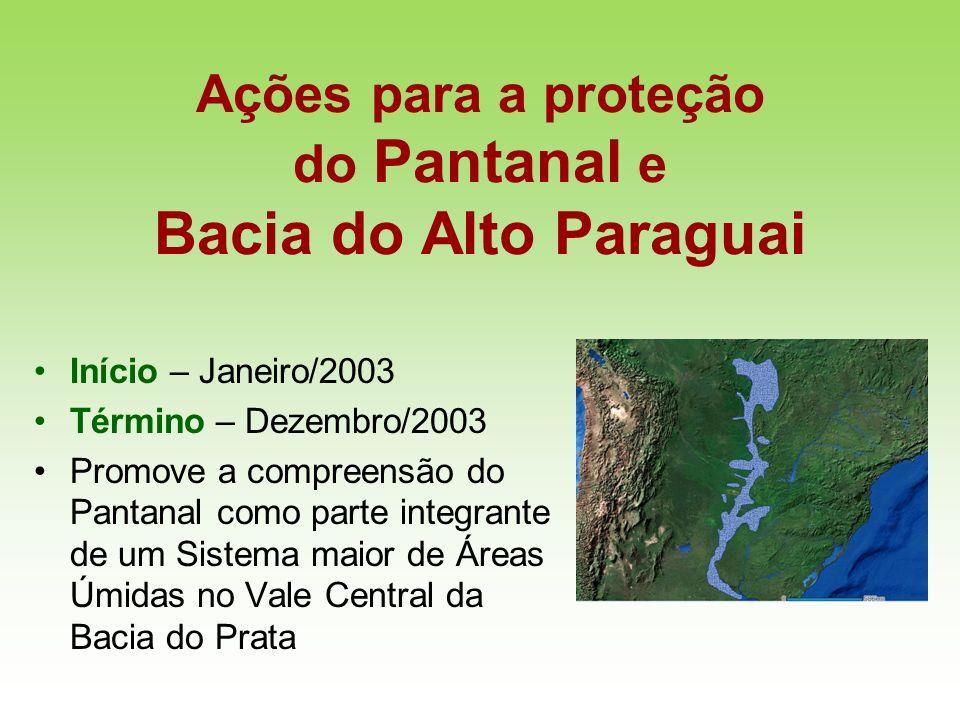 Ações para a proteção do Pantanal e Bacia do Alto Paraguai Início – Janeiro/2003 Término – Dezembro/2003 Promove a compreensão do Pantanal como parte