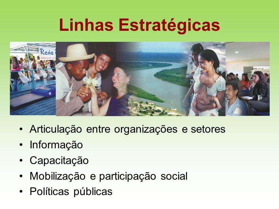Linhas Estratégicas Articulação entre organizações e setores Informação Capacitação Mobilização e participação social Políticas públicas