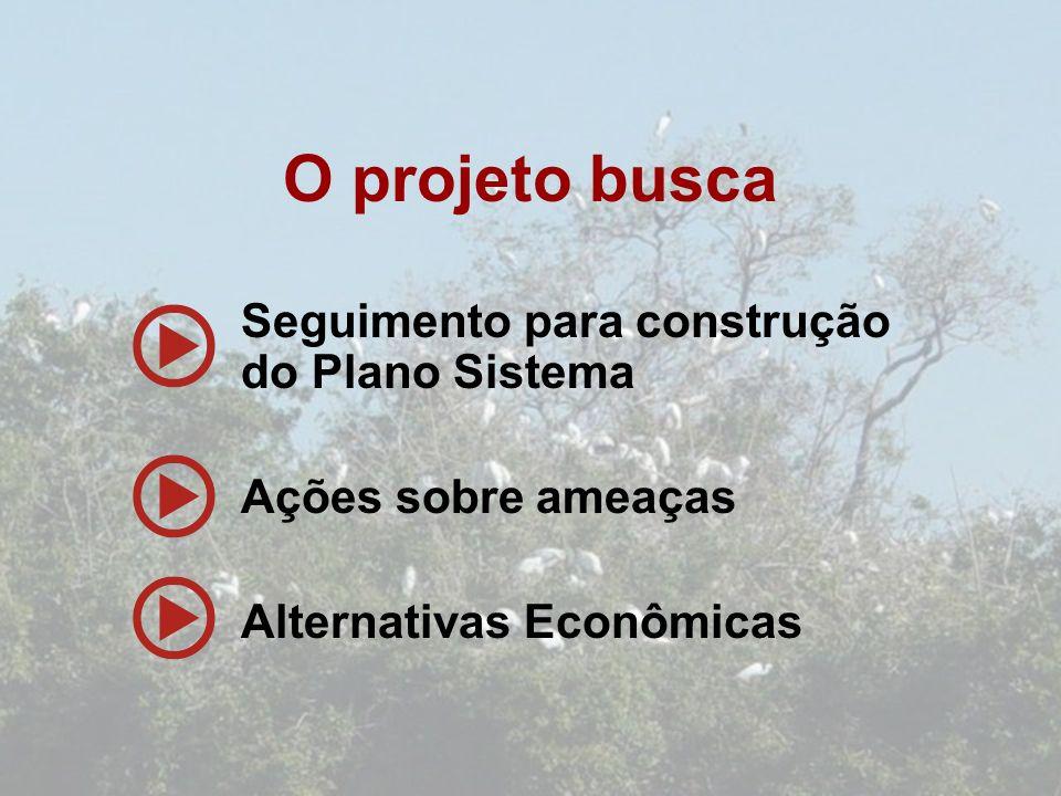 Seguimento para construção do Plano Sistema Ações sobre ameaças Alternativas Econômicas O projeto busca